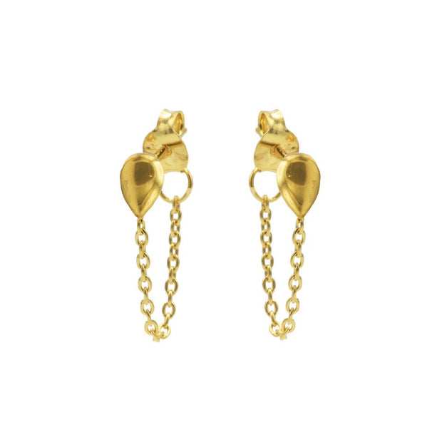 karma chain oorbellen drop gold