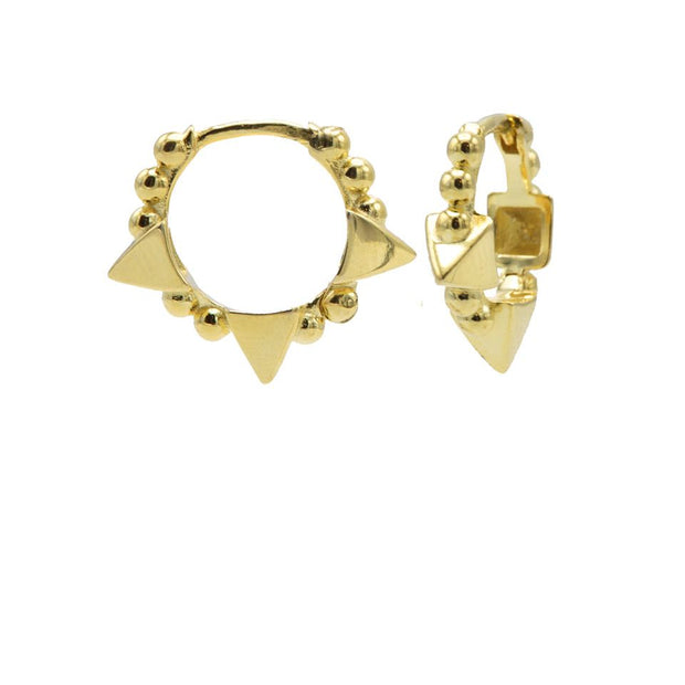 karma oorbellen plain hoops triple studs gold