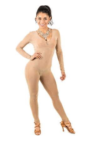 Long Sleeve Mesh Bodysuit with Rhinestones - (CW170)