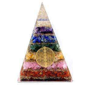 Nonstop Natur Orgonite Pyramide - Seven Chakra Flower of Life - 70 mm Orgonite Pyramide - Seven Chakra Flower of Life - 70 mm