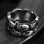 Skull Men Ring Viking Gothic Punk Rock Hip Hop Titanium Stainless Steel Silver Male Ring Biker Band Vintage Jewelry Never Fade