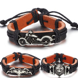 Vintage Motorcycle Batman Leather Bracelet For Men and Women Handmade Weave Rope Charm Wristband Jewelry Accessories Friend Gift