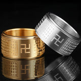 With Swastika Symbol Spinner Rotating Stainless Steel Ring For Husband Treatment Fidget Anniversary Gift Heart Sutra Cross Rings