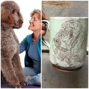Teddy the therapy dog and his memorial pet portrait mug