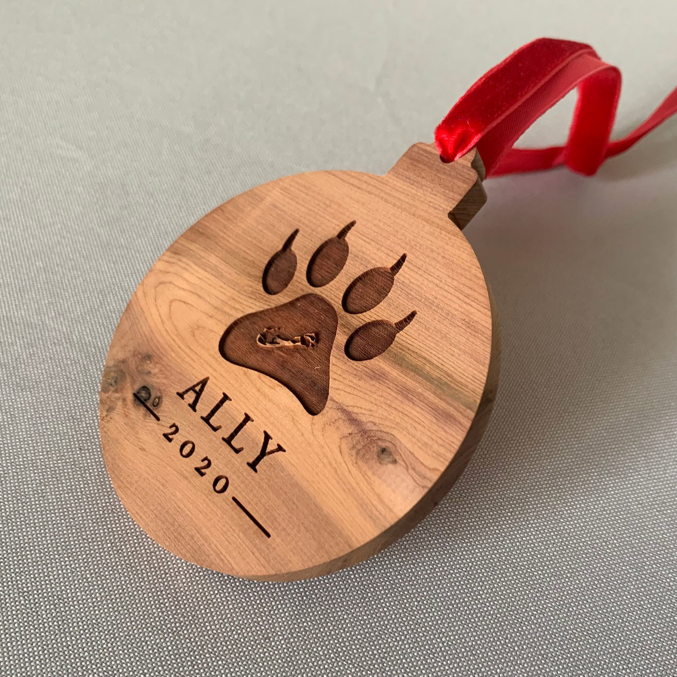 Cat Custom Cedar Ornament