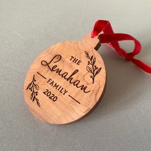 Family Custom Cedar Ornament