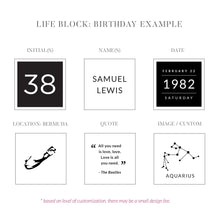 Load image into Gallery viewer, Custom Birthday Block