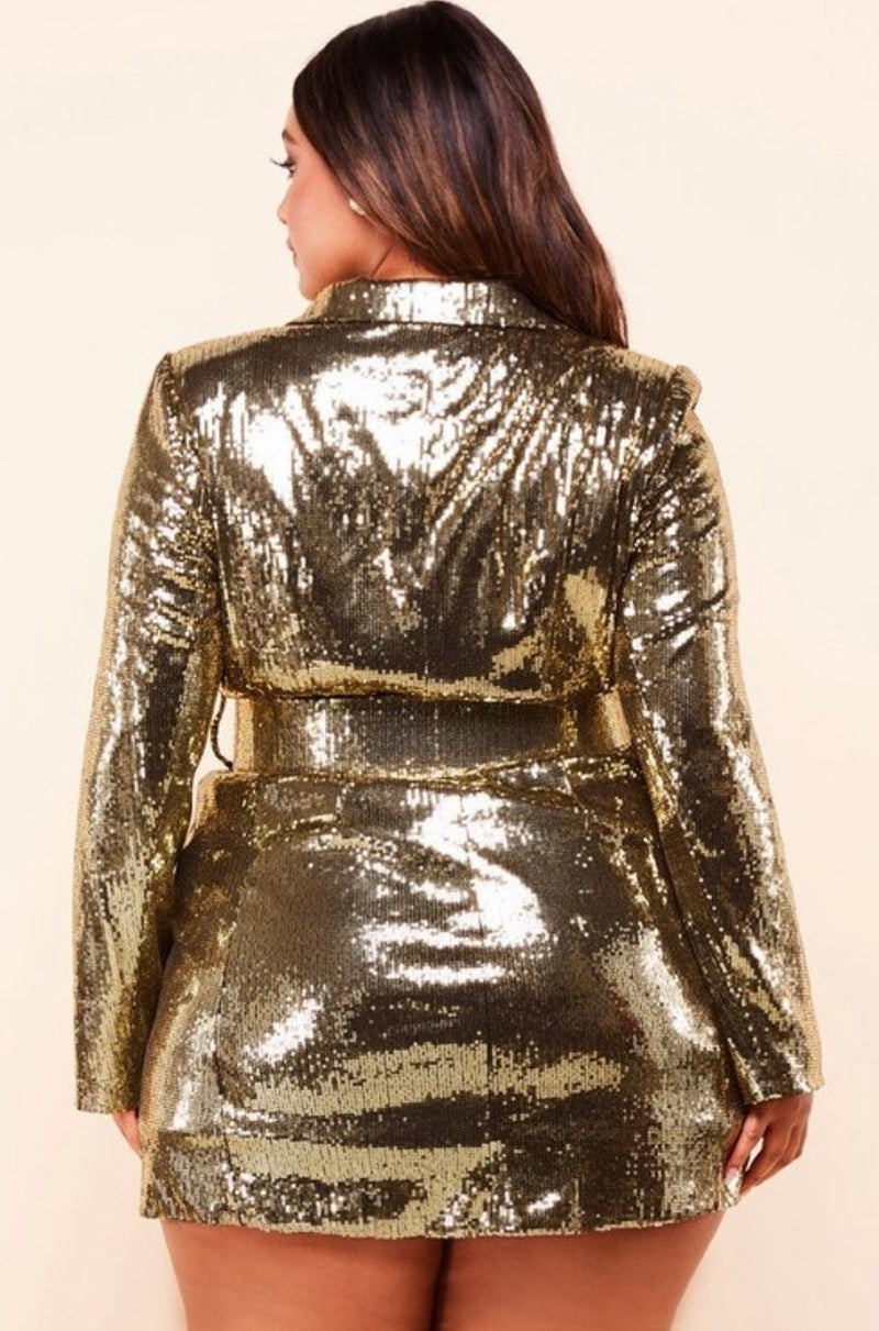 Gold Strike Blazer Dress