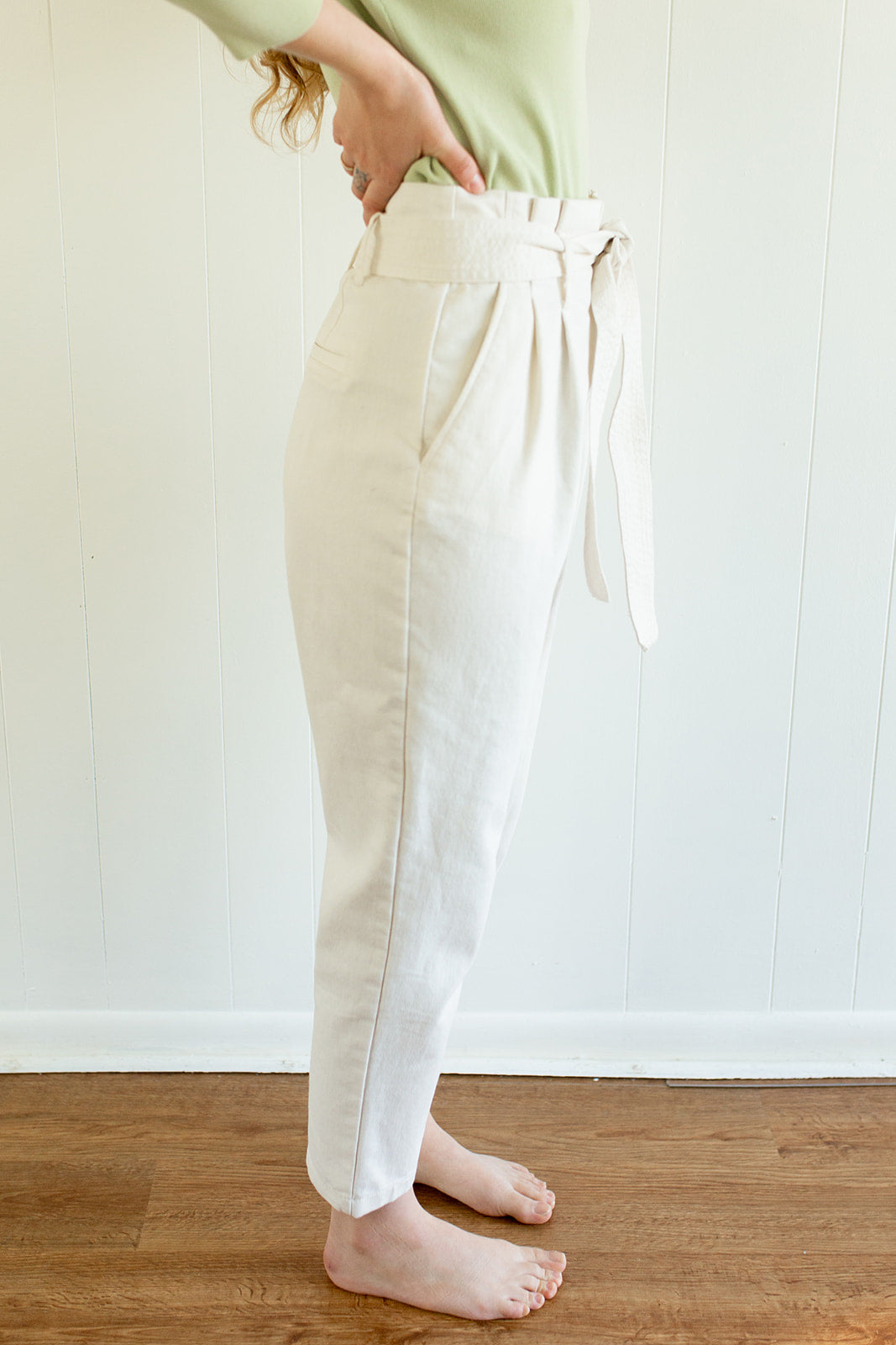 White Slacks with Tie Belt
