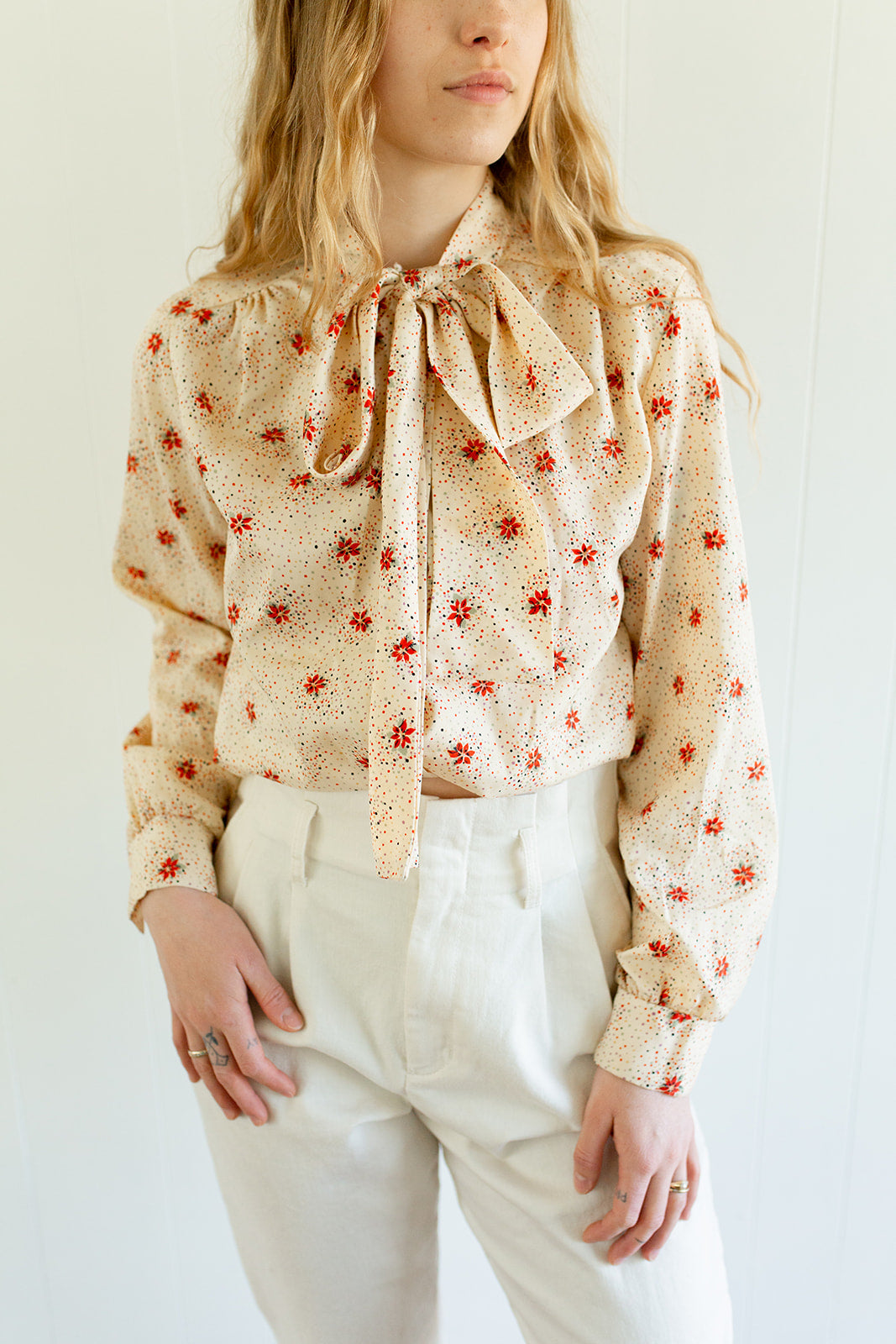 Vintage US Made Tie Collar Blouse