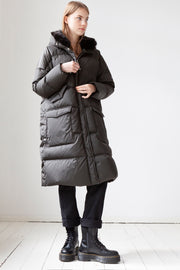 Lempelius Long Quilted Oversized Down Parka Faux Fur Mud Green