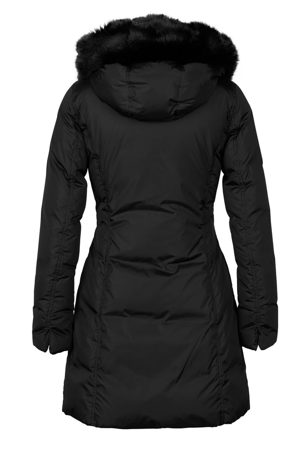 Lempelius Fitted Down Coat Black Faux Fur