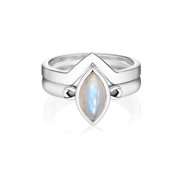 PETALA LINK Rings Set - Moonstone
