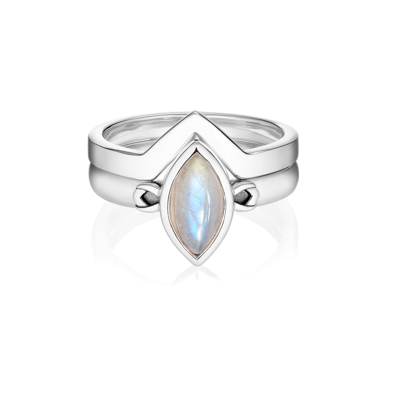 PETALA + LINK Rings Set - Moonstone