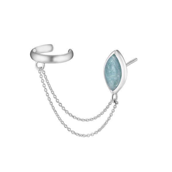 PETALA Earring with cuff - Aquamarine