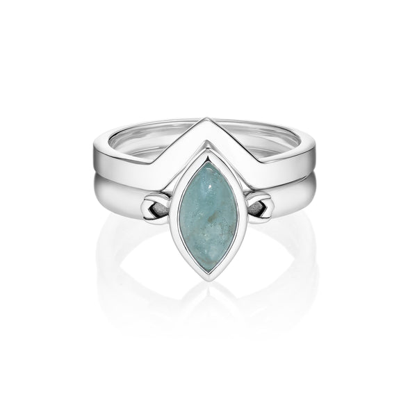 PETALA + LINK Rings Set - Aquamarine