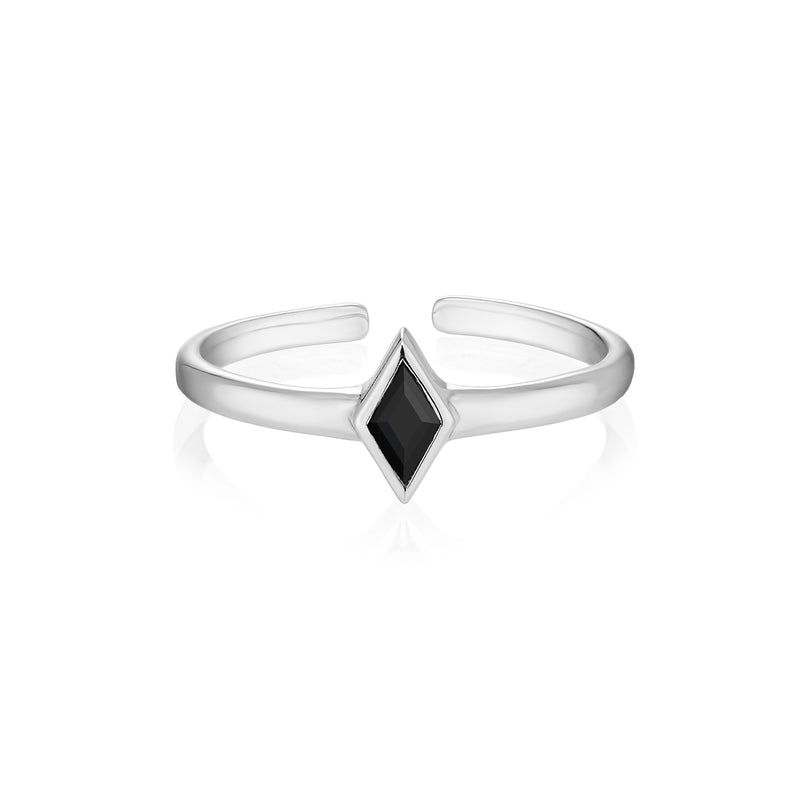 RHOMBI Midi Ring - Black Onyx