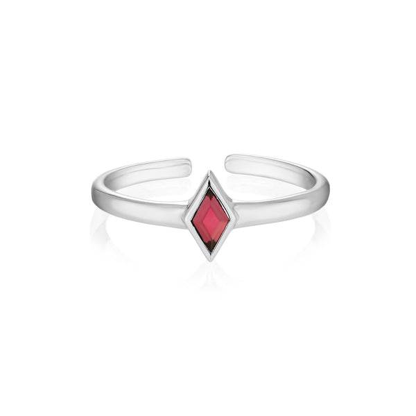 RHOMB Midi Ring - Red Garnet