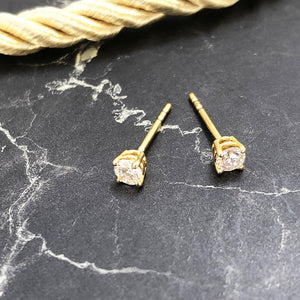 Delicate 18ct Four Claw Yellow Gold Diamond Studs