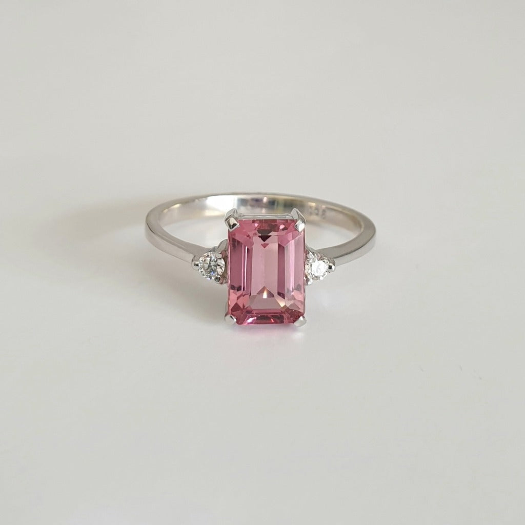 Pink Emerald Cut Tourmaline with petite Diamond Accent