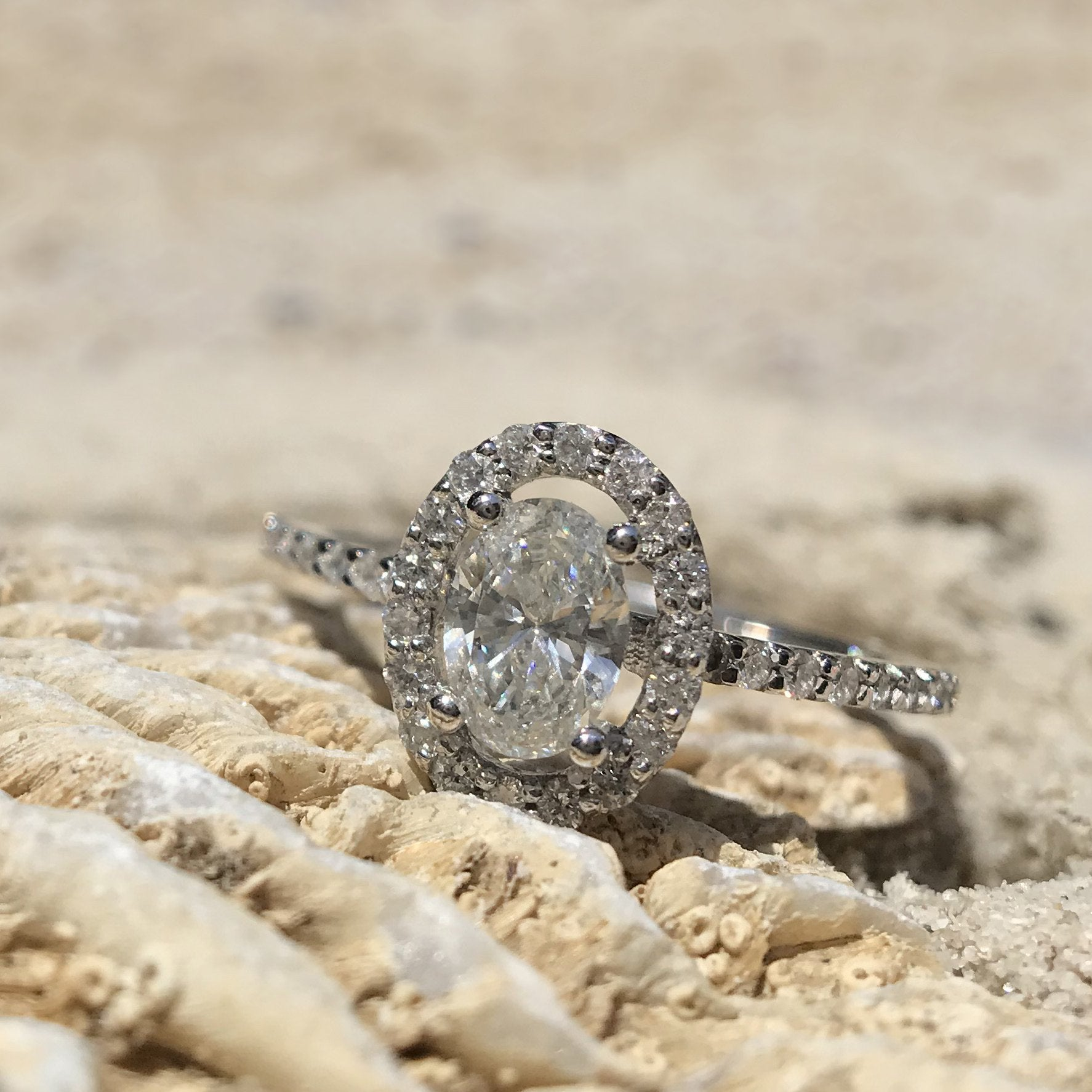 Oval Cut Diamond Ring with Diamond Halo