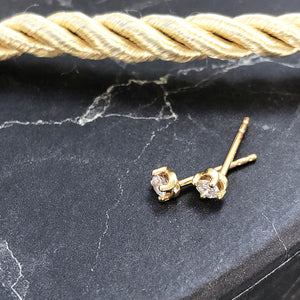 3mm Petite Yellow Gold Diamond Studs