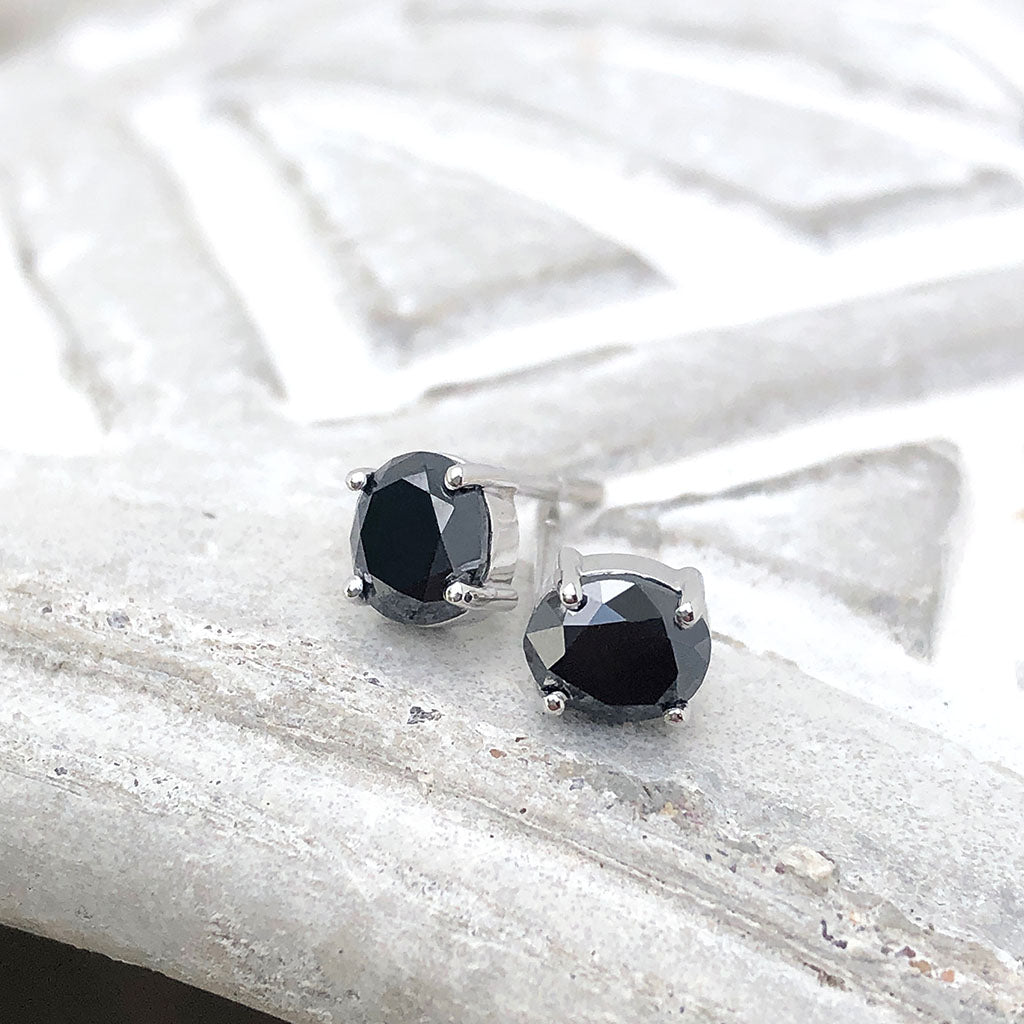 4 Claw Oval Black Diamond Studs