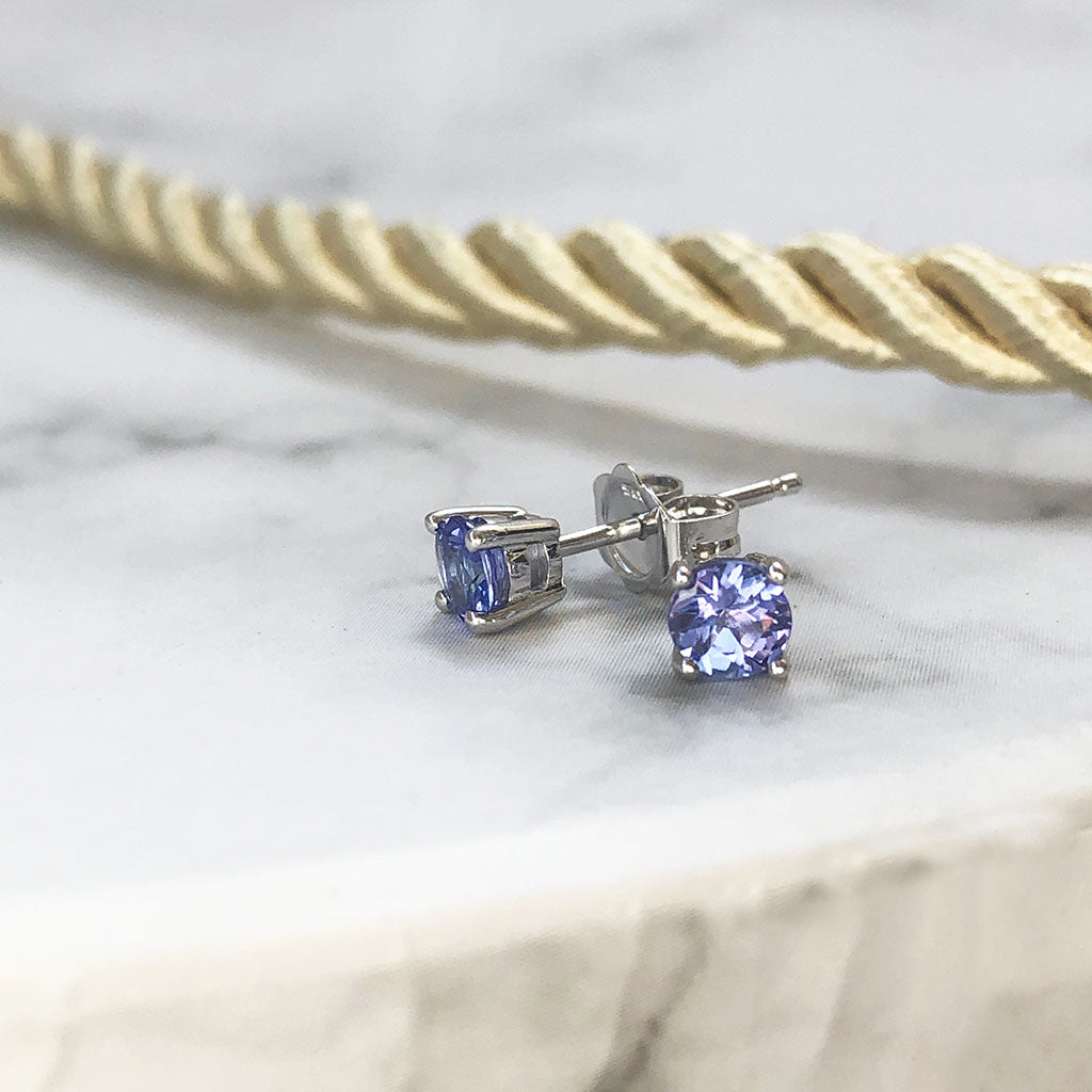 4mm White Gold Tanzanite Studs
