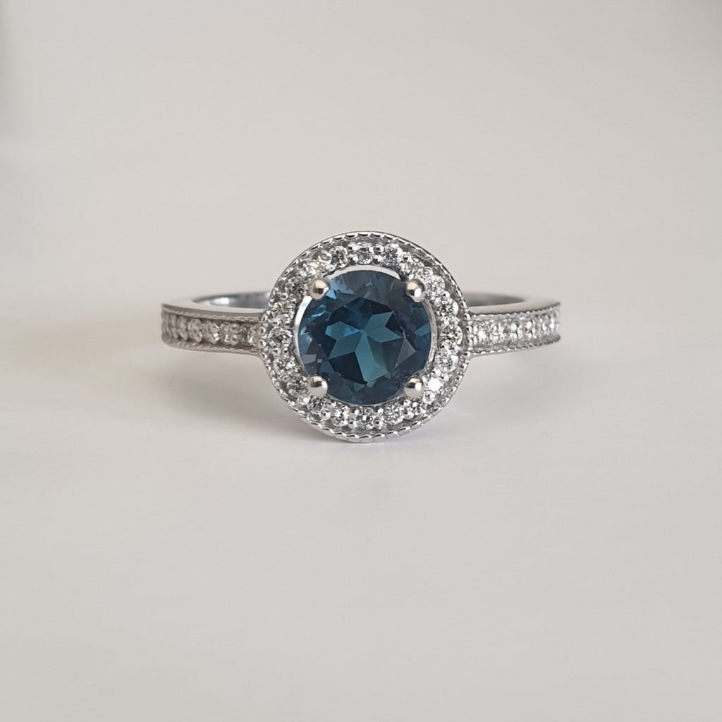 White Gold London Blue and Diamond Halo and Band Accent Ring