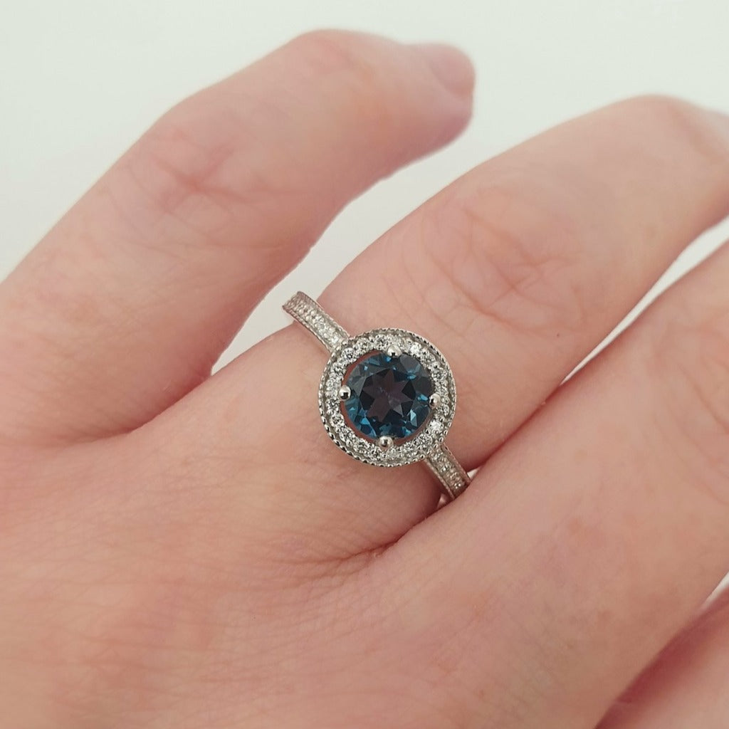 White Gold London Blue and Diamond Halo