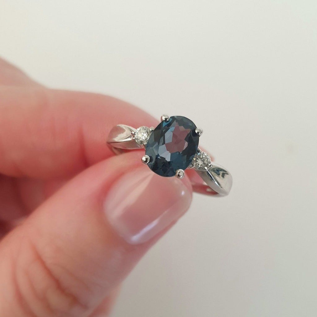 Smouldering London Blue Topaz and Diamond ring