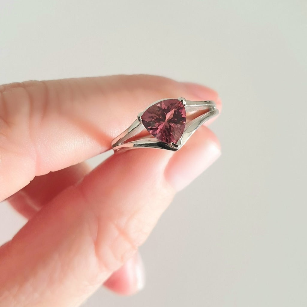 Trilliant Cut Pink Tourmaline and White Gold Ring