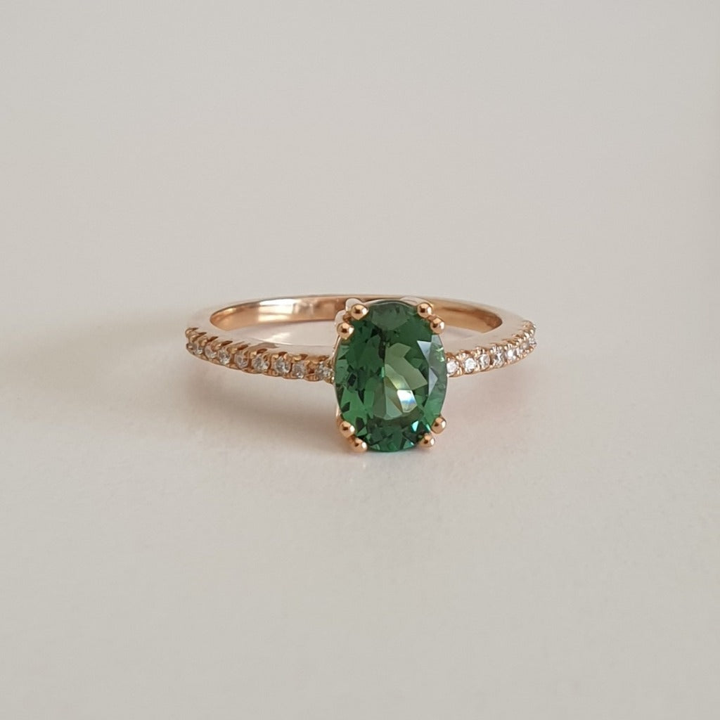 Oval Cut Green Tourmaline, Diamond and Rose Gold Ring