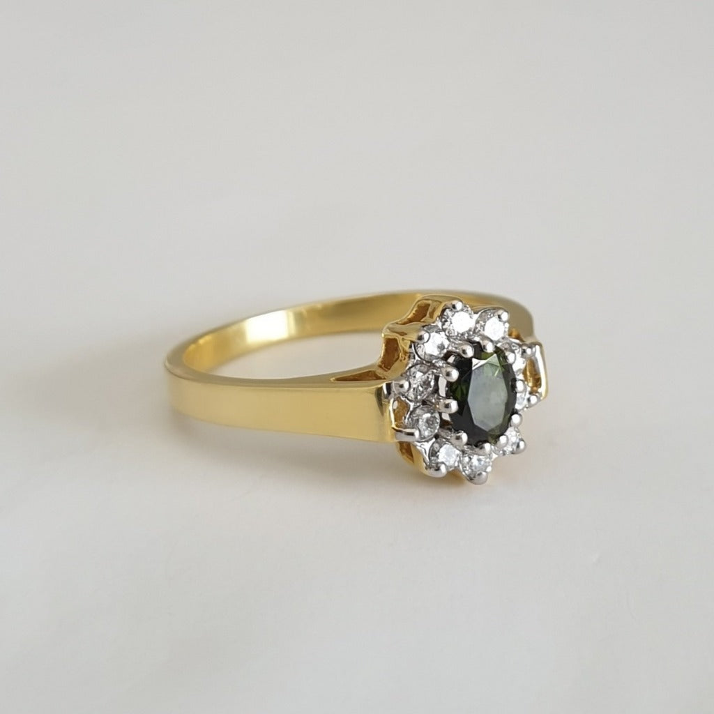 Deep Green Tourmaline and Diamond Halo yellow Gold Ring
