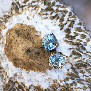 Four Claw Aquamarine Yellow Gold Studs