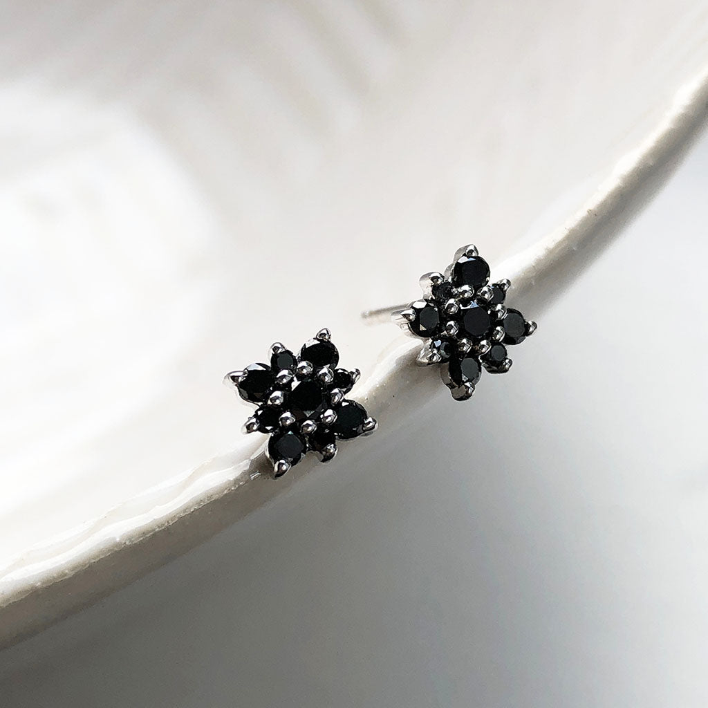 Black Diamond Flower Stud Earrings