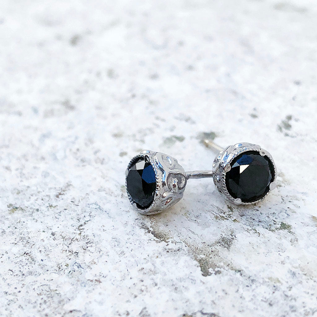 Black Diamond Studs with Deep Decorative Case