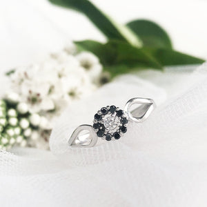 Black and White Diamond Flower Cluster Engagement Ring With Black Diamond Accented Wedding Band Set **