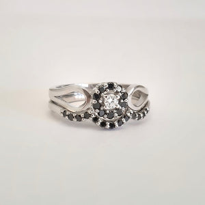 Black and White Diamond Flower Cluster Engagement Ring With Black Diamond Accented Wedding Band Set
