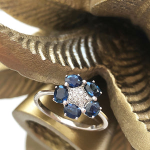 Blue Sapphire and Diamond Flower Ring