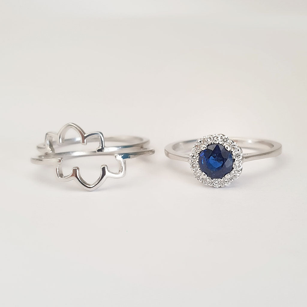 Blue Sapphire and Diamond Flower Triplet Wedding Set