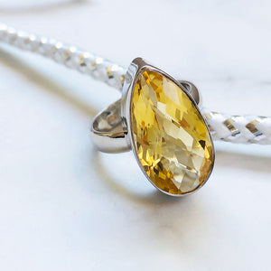 Briolette, Pear Cut Citrine Silver Ring