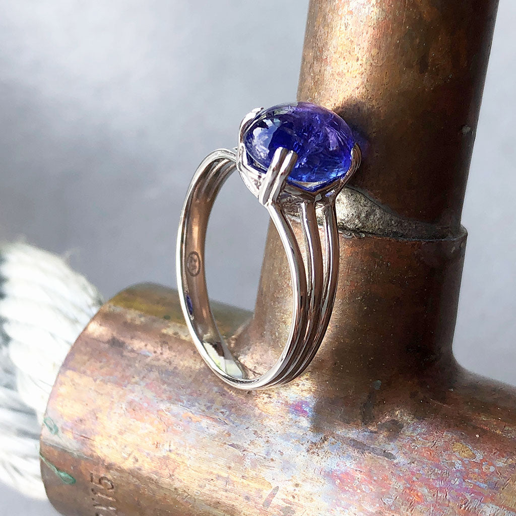 Cabuchon Oval Cut Tanzanite Three Band Shoulder Ring