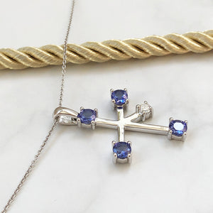 Chunky Tanzanite & Diamond Southern Cross Pendant