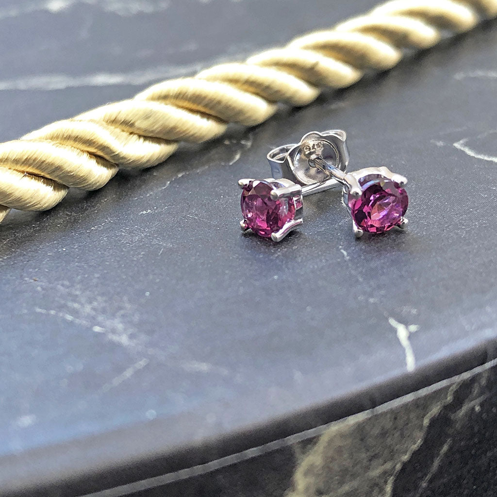 Classic Four Claw Pink Tourmaline White Gold Studs