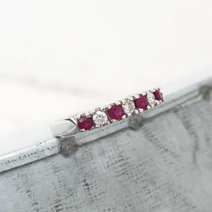Contemporary Four Claw Ruby and Diamond White Gold Ring