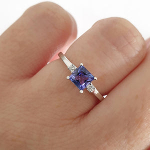 Contemporary Square Cut Tanzanite and Petite Diamond Accent Ring
