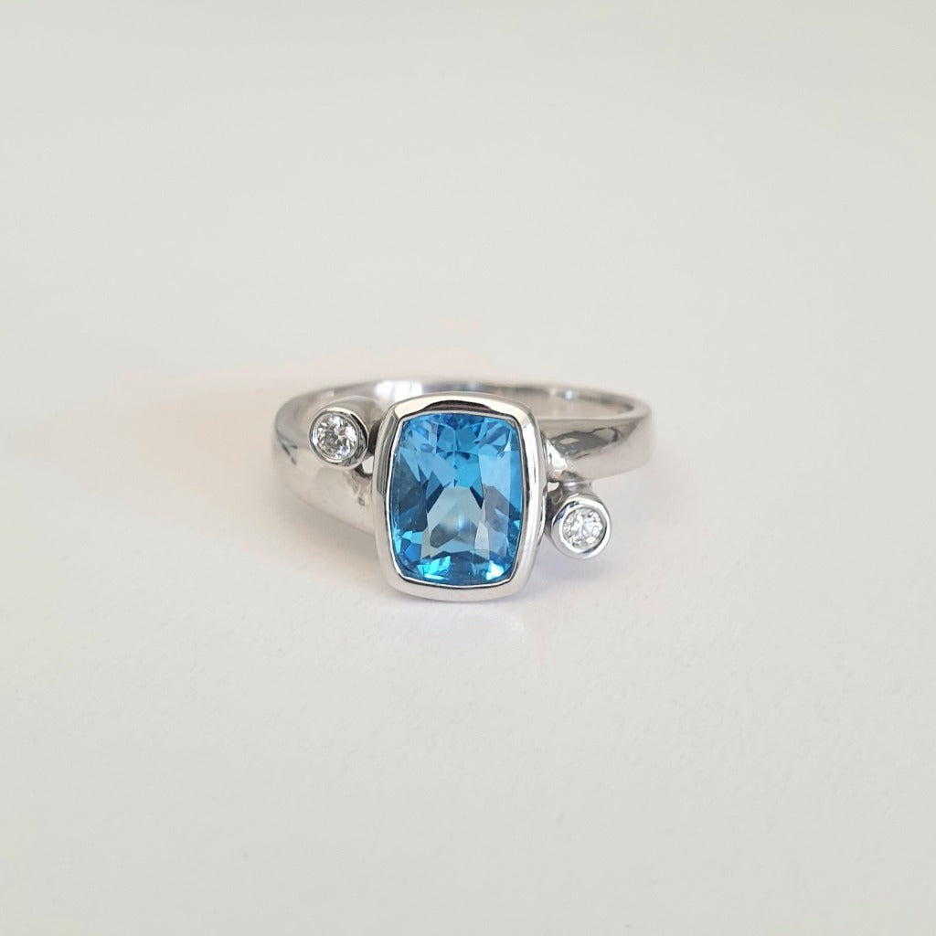 Cushion Cut Blue Topaz Ring with Diamond Accents