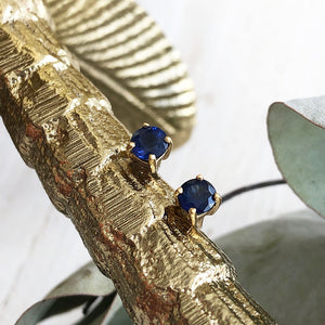 Deep Blue Sapphire 14ct Yellow Gold Studs