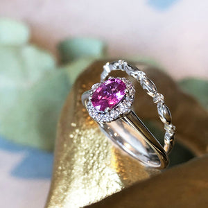 Diamond Halo'ed Pink Sapphire and Crimped Diamond Band Wedding Set